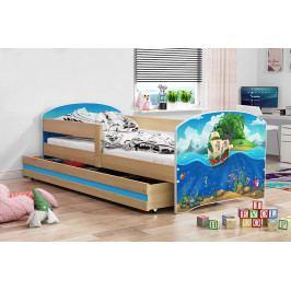 Dětská postel z borovicového dřeva s motivem pirátské lodi 80x160 cm F1367