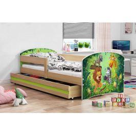 Dětská postel z borovicového dřeva s motivem zvířat 80x160 cm F1367