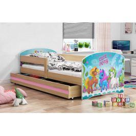 Dětská postel z borovicového dřeva s motivem pony 80x160 cm F1367