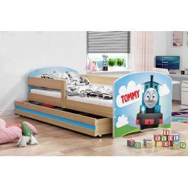 Dětská postel z borovicového dřeva s motivem mašinky 80x160 cm F1367
