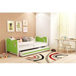 Dětská postel v kombinaci bílé a zelené barvy 80x160 cm F1365