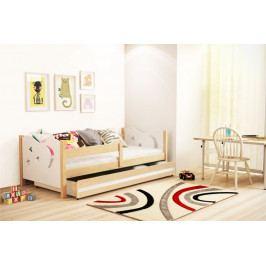 Dětská postel v kombinaci bílé barvy a dekoru borovice 80x160 cm F1365