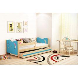 Dětská postel v kombinaci modré barvy a dekoru borovice 80x160 cm F1365