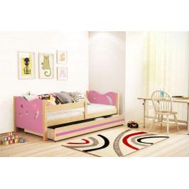 Dětská postel v kombinaci růžové barvy a dekoru borovice 80x160 cm F1365