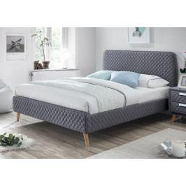 Manželská postel 180x200 cm čalouněná látkou v tmavě šedé barvě s roštem KN932