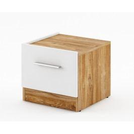 Noční stolek v bílém matu s dekorem dub typ levý DT 03 KN984