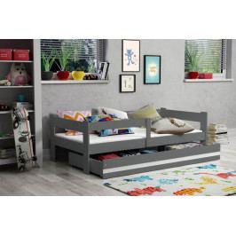 Moderní dětská postel s úložným prostorem a matrací v grafit barvě 80x160 cm F1378