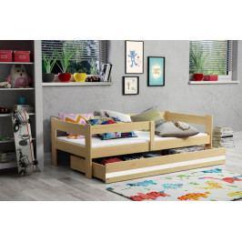 Moderní dětská postel s úložným prostorem a matrací v dekoru borovice 80x160 cm F1378