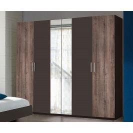 Šatní skříň 225 cm se šedými dveřmi v kombinaci s dekorem dub a zrcadlem se šedým korpusem typ 748 KN815