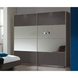 Šatní skříň 225 cm s posuvnými dveřmi se zrcadlem v šedé barvě grafit typ 791 KN815