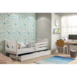 Dětská postel v bílém provedení s úložným prostorem a matrací 80x190 cm F1377