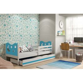 Dětská postel v kombinaci bílé a modré barvy s úložným prostorem a matrací 80x190 cm F1377