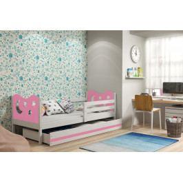 Dětská postel v kombinaci bílé a růžové barvy s úložným prostorem a matrací 80x190 cm F1377
