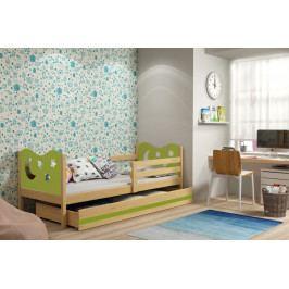 Dětská postel v kombinaci dekoru borovice a zelené barvy s úložným prostorem a matrací 80x190 cm F1377