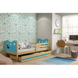Dětská postel v kombinaci dekoru borovice a modré barvy s úložným prostorem a matrací 80x190 cm F1377