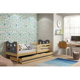 Dětská postel v kombinaci dekoru borovice a grafit barvy s úložným prostorem a matrací 80x190 cm F1377