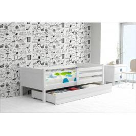 Dětská postel s úložným prostorem a matrací v bílé barvě 80x190 cm F1366