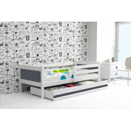 Dětská postel s úložným prostorem a matrací v kombinaci bílé a grafit barvy 80x190 cm F1366