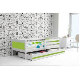 Dětská postel s úložným prostorem a matrací v kombinaci bílé a zelené barvy 80x190 cm F1366