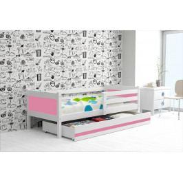 Dětská postel s úložným prostorem a matrací v kombinaci bílé a růžové barvy 80x190 cm F1366