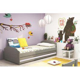 Dětská postel s úložným prostorem a matrací v grafit barvě s bílým pruhem 90x200 cm F1393
