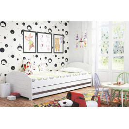 Dětská postel s úložným prostorem a matrací v bílé barvě s pruhem v barvě grafit 90x200 cm F1393