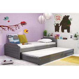 Dětská postel s přistýlkou v grafit barvě 90x200 cm F1393