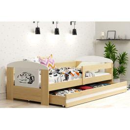 Dětská postel s úložným prostorem a matrací s motivem auta 80x160 cm F1368