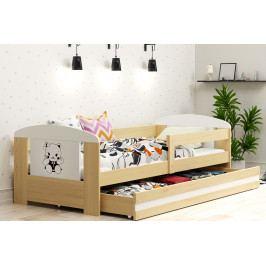 Dětská postel s úložným prostorem a matrací s motivem kočky 80x160 cm F1368