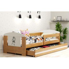 Dětská postel s úložným prostorem a matrací s motivem baletky v dekoru olše 80x160 cm F1368