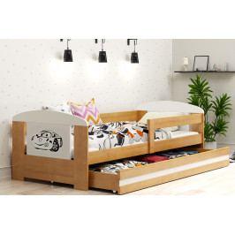 Dětská postel s úložným prostorem a matrací s motivem auta v dekoru olše 80x160 cm F1368