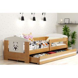 Dětská postel s úložným prostorem a matrací s motivem kočky v dekoru olše 80x160 cm F1368