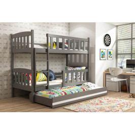 Dětská patrová postel s přistýlkou v grafit barvě F1394