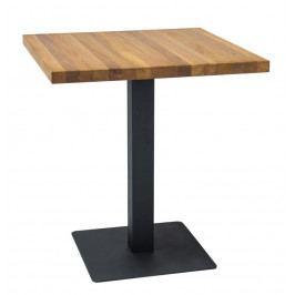 Jídelní stůl 70x70 cm z masivu v dekoru dub s černou kovovou konstrukcí KN887