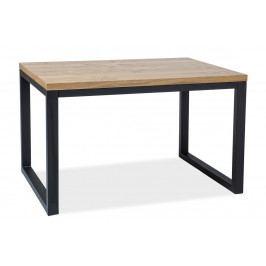 Jídelní stůl 180x90 cm z dýhy v dekoru dub s černou kovovou konstrukcí typ II KN444