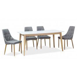 Jídelní rozkládací stůl 160x80 cm v bílé barvě s dřevěnou konstrukcí v dekoru dub KN975