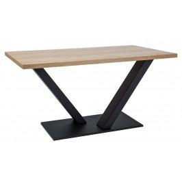 Jídelní stůl 150x90 cm z dýhy v dekoru dub s černou kovovou konstrukcí KN885