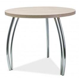 Kulatý jídelní stůl 90 cm v dekoru dub sonoma s kovovou konstrukcí KN525