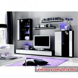 Obývací stěna s LED osvětlením dekor bílá černá extra vysoký lesk HG TK3216