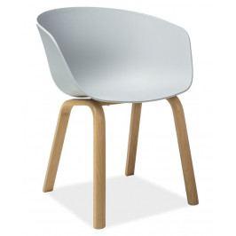 Jídelní plastová židle v šedé barvě s kovovou konstrukcí v dekoru dub KN640