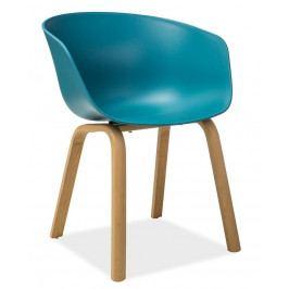 Jídelní plastová židle v modré barvě s kovovou konstrukcí v dekoru dub KN640