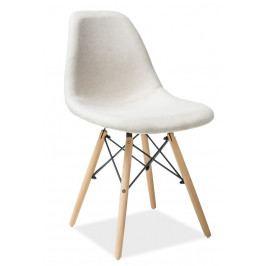 Jídelní čalouněná židle v béžové barvě na dřevěné konstrukci KN899