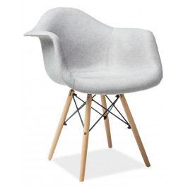 Jídelní čalouněná židle v šedé barvě s dřevěnou konstrukcí KN901