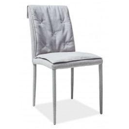 Jídelní čalouněná židle potahovou látkou v šedé barvě s prošíváním KN914