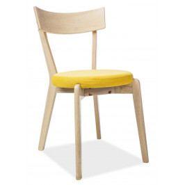 Jídelní dřevěná židle s čalouněným sedákem ve žluté barvě KN903