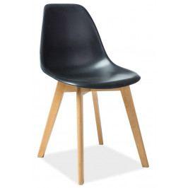 Jídelní plastová židle v černé barvě s dřevěnou konstrukcí KN900