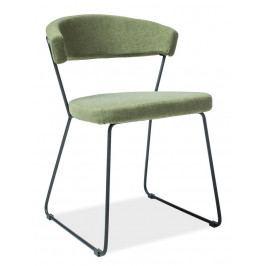 Jídelní čalouněná židle v zelené barvě s černou kovovou konstrukcí KN908