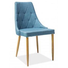 Jídelní čalouněná židle v modré barvě na kovové konstrukci v dekoru dub typ II KN398