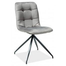 Jídelní židle v šedé barvě na černé kovové konstrukci KN898