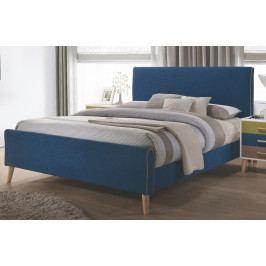 Manželská postel 180x200 cm čalouněná látkou v modré barvě KN929